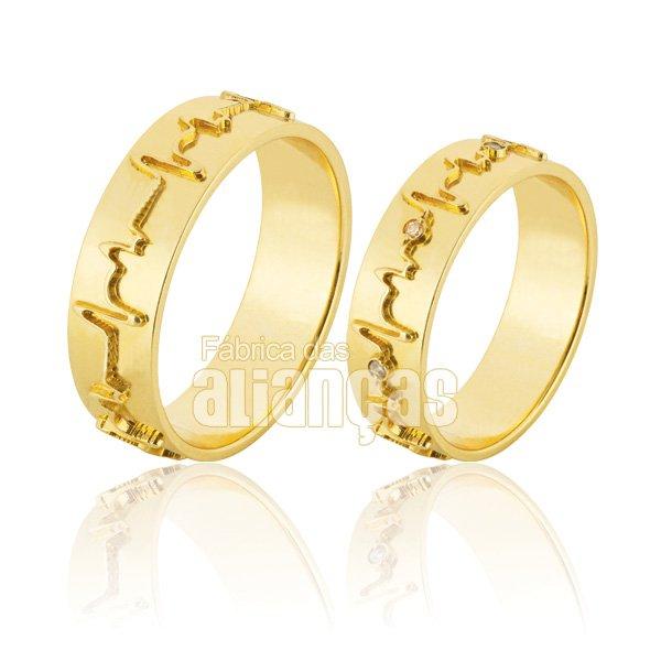 Alianças de Noivado e Casamento em Ouro Amarelo 18k 0,750 FA-838