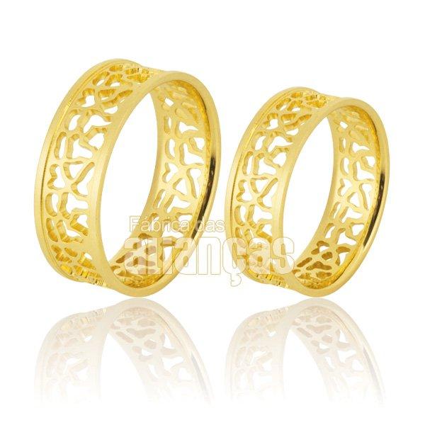 Alianças de Noivado e Casamento em Ouro Amarelo 18k 0,750 FA-894