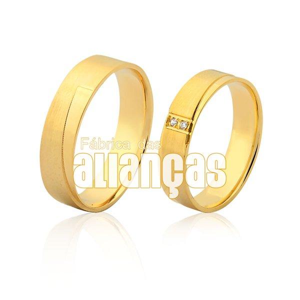 Alianças de Noivado e Casamento em Ouro Amarelo 18k 0,750 FA-971