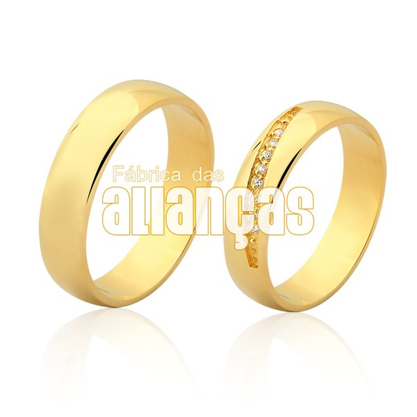 Alianças de Noivado e Casamento em Ouro Amarelo 18k 0,750 FA-949