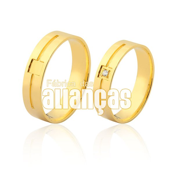 Alianças de Noivado e Casamento em Ouro Amarelo 18k 0,750 FA-964