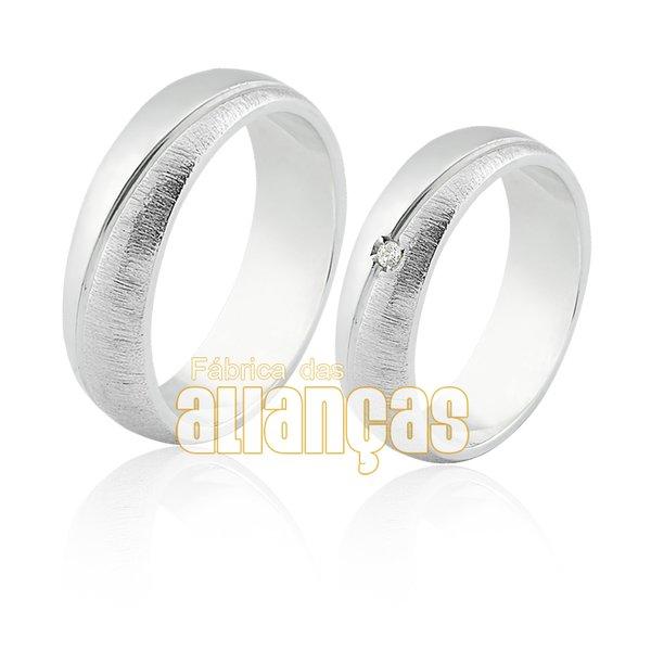 Aliança em Prata 0,950 k Com Zircônia