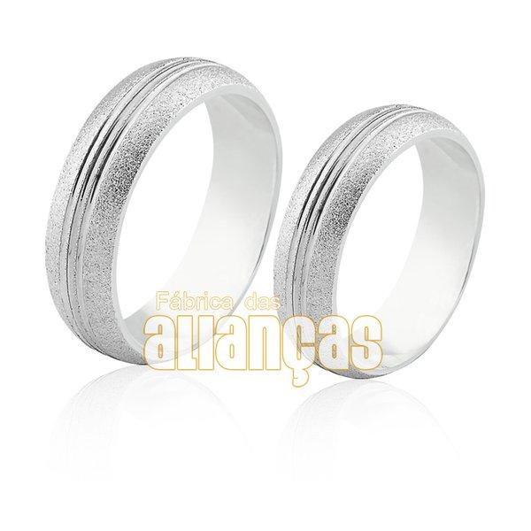 Aliança em Prata 0,950 k Tradicional Diamantada