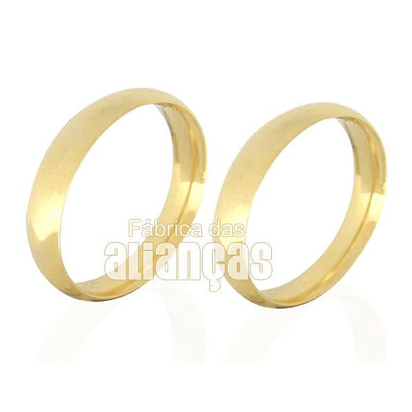 Par de alianças anatomicas de ouro 18k de noivado e casamento