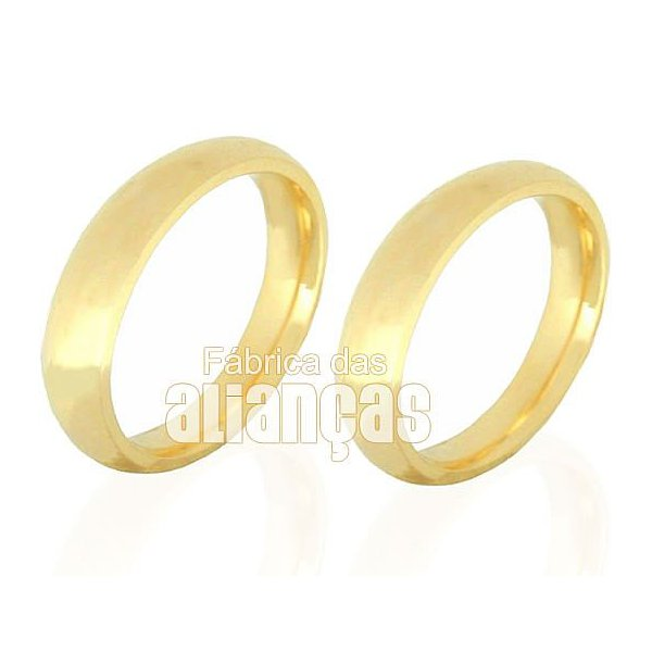 Par de Alianças de casamento com 14,00 grmas anatomicas em ouro 18k
