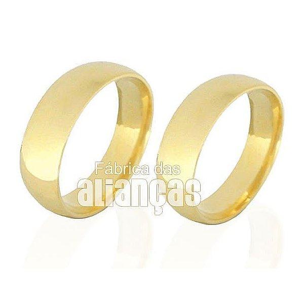 Par de Alianças anatomicas de Noivado e Casamento em Ouro 18k 0,750 FA-139