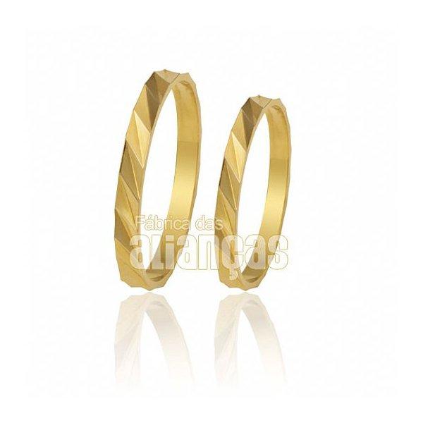 Alianças de Noivado e Casamento em Ouro Amarelo 18k 0,750 FA-172