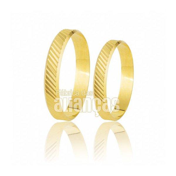 Alianças de Noivado e Casamento em Ouro Amarelo 18k 0,750 FA-180