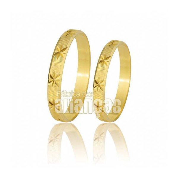 Alianças de Noivado e Casamento em Ouro Amarelo 18k 0,750 FA-183