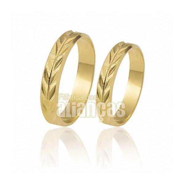 Alianças de Noivado e Casamento em Ouro Amarelo 18k 0,750 FA-188