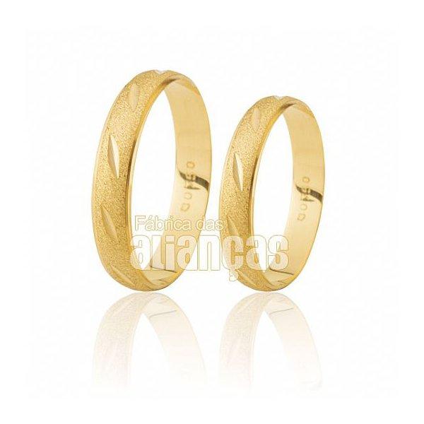 Alianças de Noivado e Casamento em Ouro Amarelo 18k 0,750 FA-191