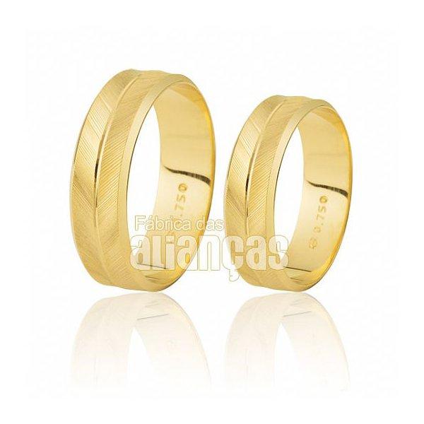 Alianças de Noivado e Casamento em Ouro Amarelo 18k 0,750 FA-194