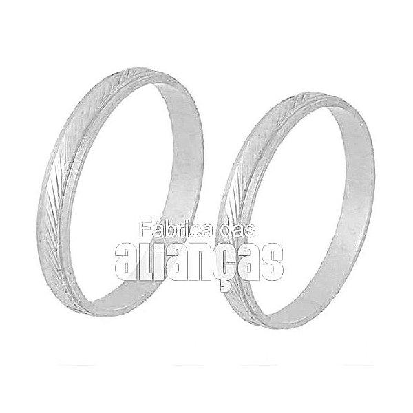 Alianças de Noivado e Casamento em Ouro Branco 18k 0,750 FA-235-B