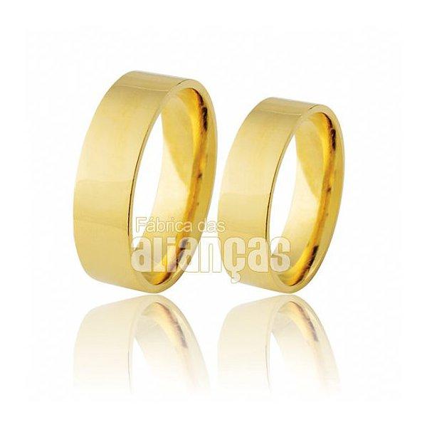 Alianças de Noivado e Casamento em Ouro Amarelo 18k 0,750 FA-280