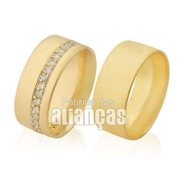 Alianças de Noivado e Casamento em Ouro Amarelo 18k 0,750 FA-283