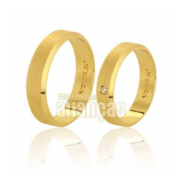 Alianças de Noivado e Casamento em Ouro Amarelo 18k 0,750 FA-387