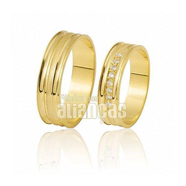 Alianças de Noivado e Casamento em Ouro Amarelo 18k 0,750 FA-412