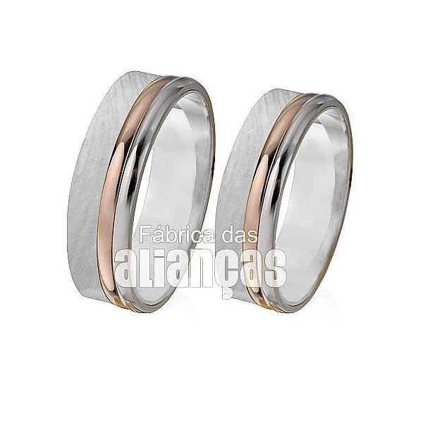 Aliança de Noivado e Casamento em Ouro Branco 18k 0,750 FA-436-B