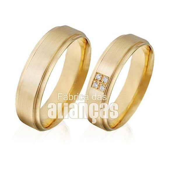Alianças de Noivado e Casamento em Ouro Amarelo 18k 0,750 FA-496