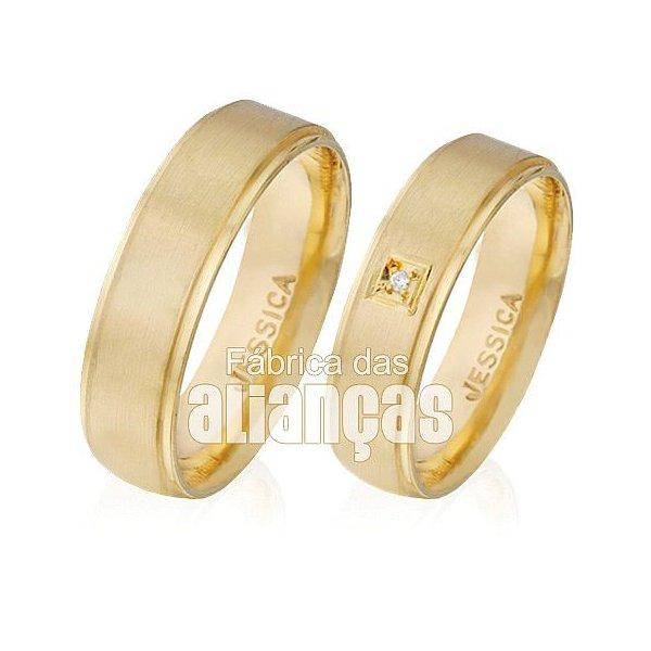 Alianças de Noivado e Casamento em Ouro Amarelo 18k 0,750 FA-497