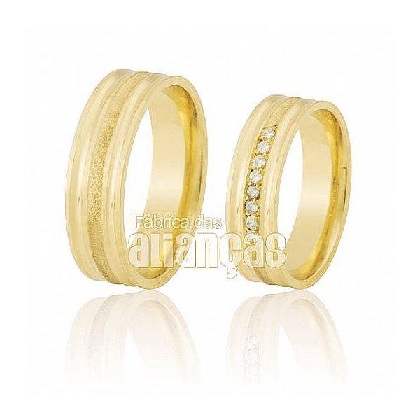 Alianças de Noivado e Casamento em Ouro Amarelo 18k 0,750 FA-500