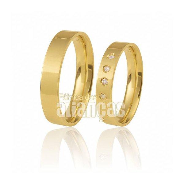Alianças de Noivado e Casamento em Ouro Amarelo 18k 0,750 FA-502