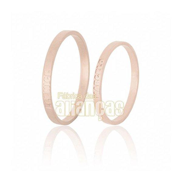 Alianças de Noivado e Casamento em Ouro Rose 18k 0,750 FA-526-R