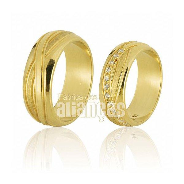 Alianças de Noivado e Casamento em Ouro Amarelo 18k 0,750 FA-581-Z
