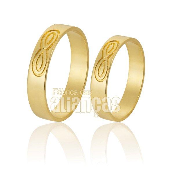 Alianças de Noivado e Casamento em Ouro Amarelo 18k 0,750 FA-598