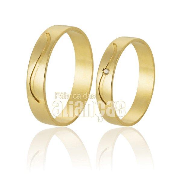 Alianças de Noivado e Casamento em Ouro 18k 0,750 FA-600-Z