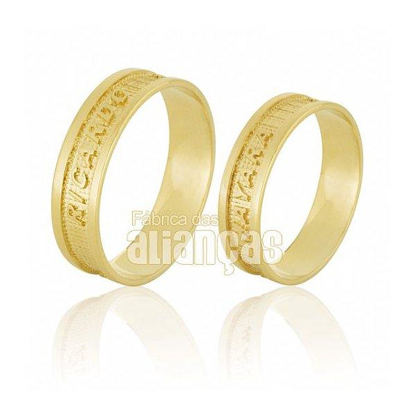 Alianças de Noivado e Casamento em Ouro Amarelo 18k 0,750 FA-604