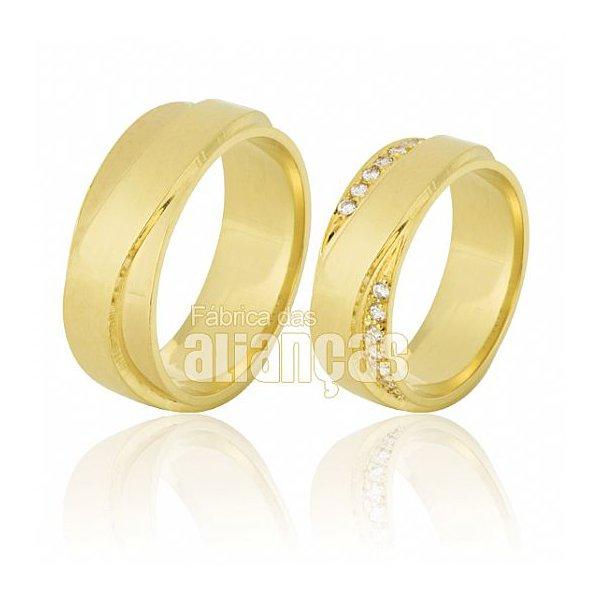 Alianças de Noivado e Casamento em Ouro Amarelo 18k 0,750 FA-634-Z