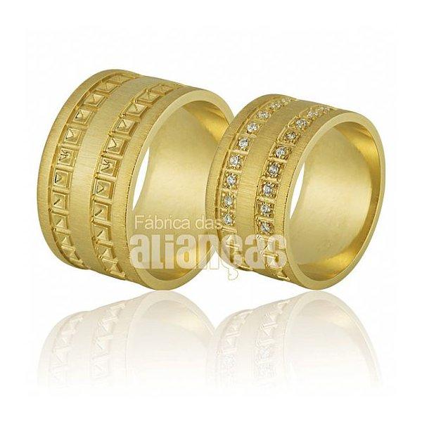 Alianças de Noivado e Casamento em Ouro Amarelo 18k 0,750 FA-681