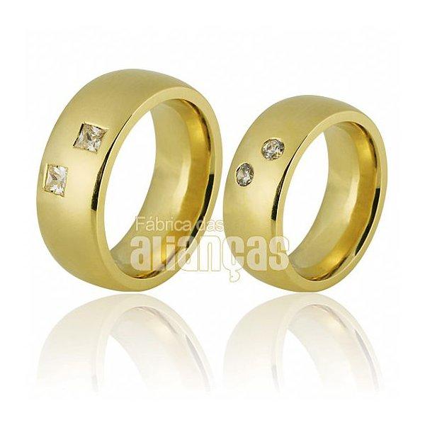 Alianças de Noivado e Casamento em Ouro Amarelo 18k 0,750 FA-683