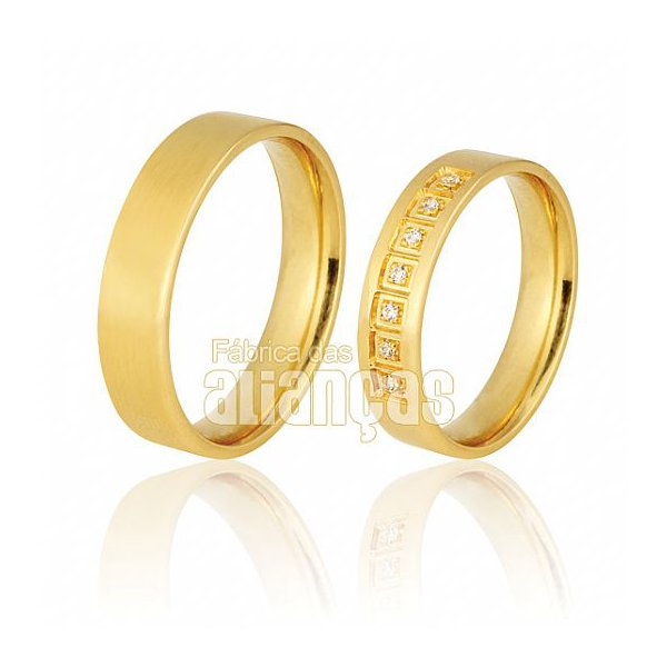 Alianças de Noivado e Casamento em Ouro Amarelo 18k 0,750 FA-712