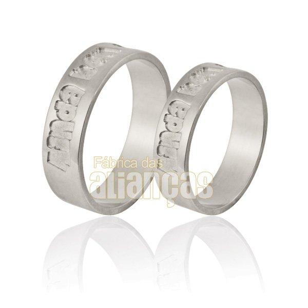 Alianças de Noivado e Casamento em Ouro Branco 18k 0,750 FA-864-B
