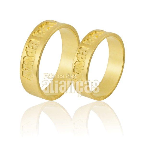 Alianças de Noivado e Casamento em Ouro Amarelo 18k 0,750 FA-864