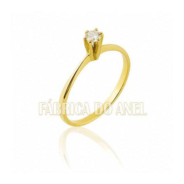 Anel Solitário em Ouro Amarelo 18k 0,750 S-12