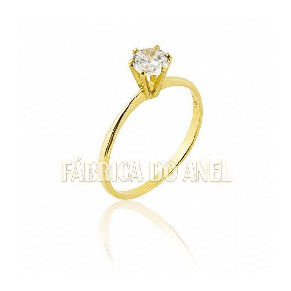 Anel Solitário em Ouro Amarelo 18k 0,750 S-14-Z