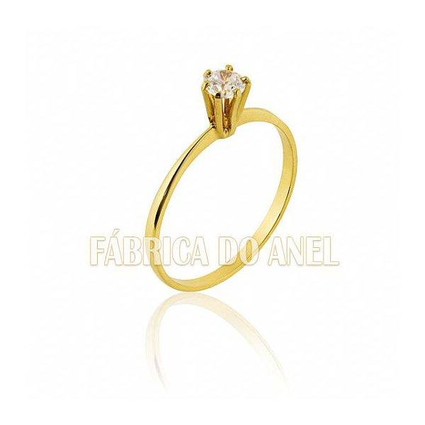 Anel Solitário em Ouro Amarelo 18k 0,750 S-15-Z