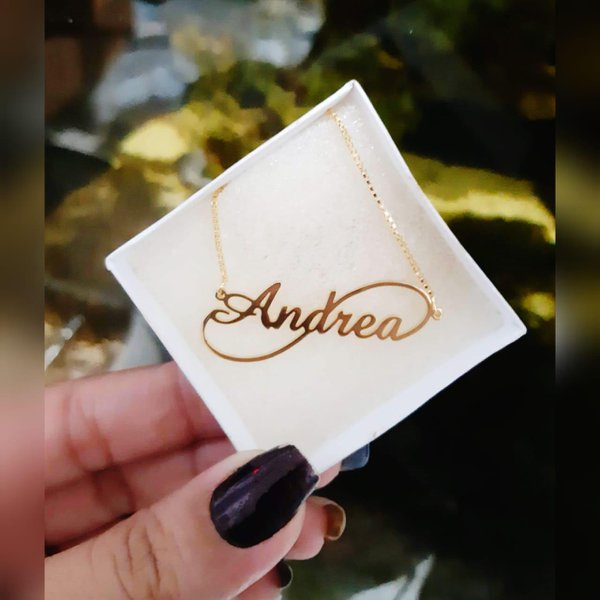 Gargantilha Banhada a Ouro Personalizada Nome e Infinito