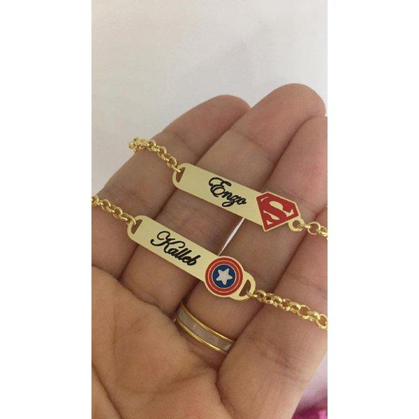 Pulseira Infantil Chapinha Banhada a Ouro Personalizada