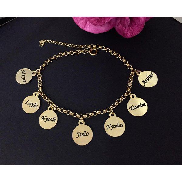 Pulseira Personalizada Banhada a ouro com Até 9 nomes