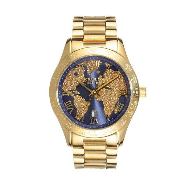 7f96aa4fa RLG-3980-Relógio Michael Kors Feminino Layton Cristal Dourado MK6243-4AI  Mapa Mundi