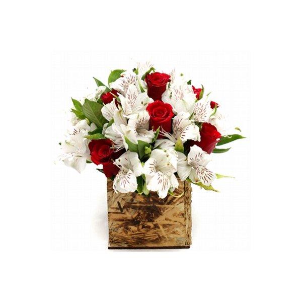 Arranjo de Rosas Vermelhas com Astromélias Brancas
