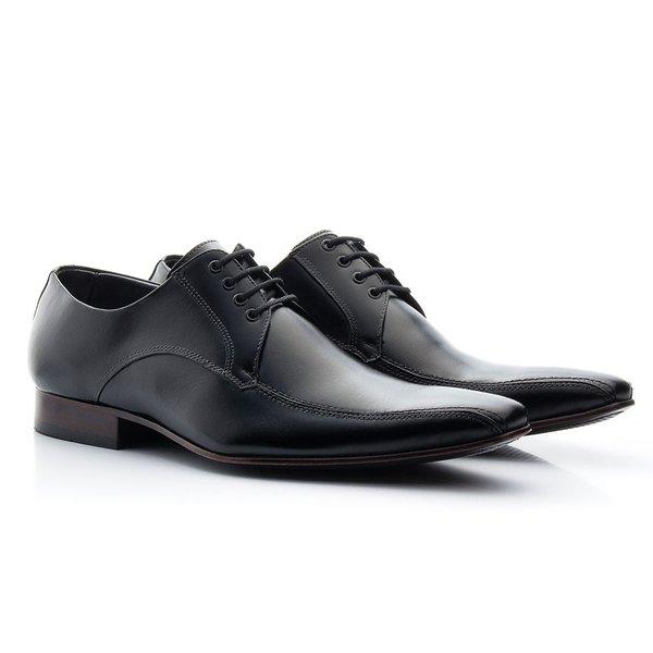 d613e61a3 Sapato social masculino estilo italiano de amarrar preto solado em couro