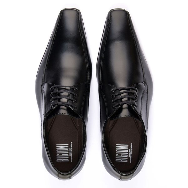 397d8afe65 Sapato social masculino estilo italiano de amarrar preto solado em couro |  BIGIONI