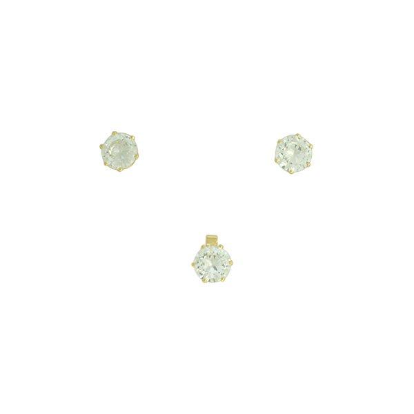 Conjunto Colar Ponto de Luz Zircônia Lesprit 6017 Dourado Cristal