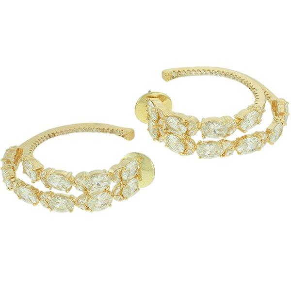 Brinco Argola Zircônia Lesprit LB14171WGL Dourado Cristal