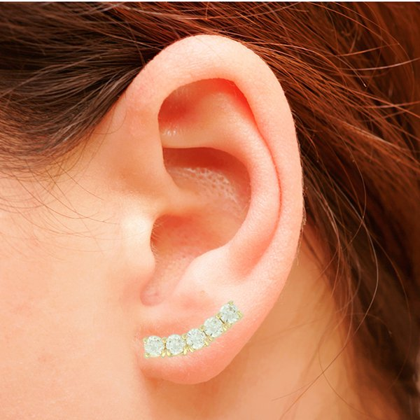 Brinco Ear Cuff Zircônia Lesprit LB15221WGL Dourado Cristal